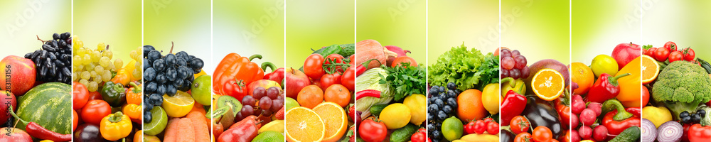 Fototapeta Fruits, vegetables and berries on green background