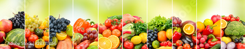 Fruits, vegetables and berries on green background - 283113156