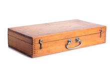 Vintage Wooden Tool Box On A White Background