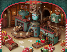 Holiday Greeting Card Or Poster With Vintage Toy Factory For Christmas Or New Year. 3D Image.