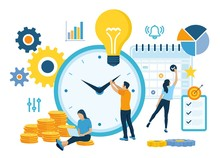 Time Management Planning, Organization And Control Concept For Effiecient Succesful And Profitable Business. Concept Of Work Time Management. Business Team. Vector Illustration With Characters.