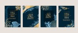 Fototapeta Fototapety z morzem do Twojej sypialni - Set of wedding cards, invitation. Save the date sea style design. Romantic beach wedding summer background. Hand drawn seashells with golden texture.