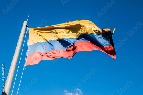 Autocollant pour porte Amérique du Sud Colombian flag taken from the Paisa town