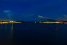 Dark Night View To Tolo Harbour From Tai Po