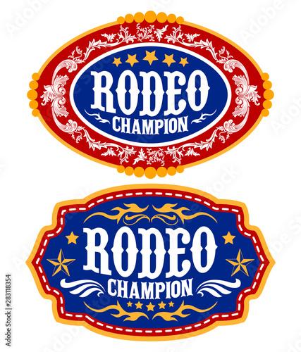 Fotografía  Rodeo Champion Cowboy belt buckle vector design
