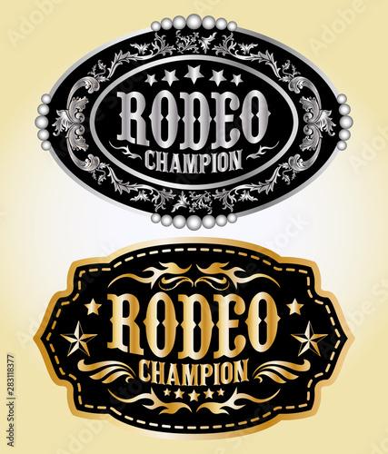 Cuadros en Lienzo  Rodeo Champion Cowboy belt buckle vector design