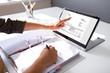 Leinwanddruck Bild Accountant calculating tax at desk