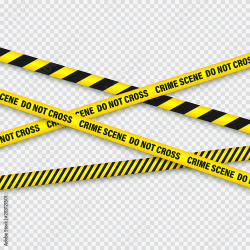 Fotomural  Yellow And Black Barricade Construction Tape