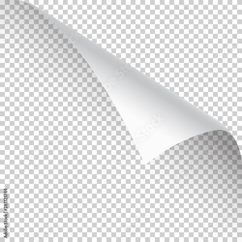 Photo Curled page corner with shadow on transparent background