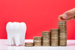canvas print picture - Stack Of Coins In Front Of Healthy Tooth