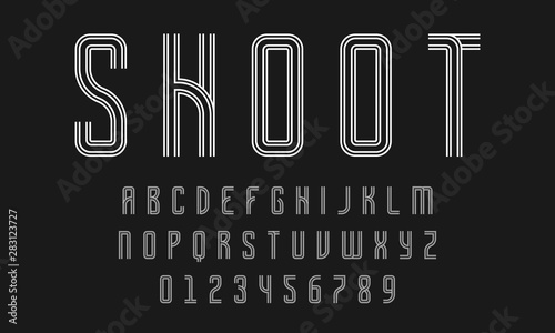 Fotografie, Obraz  Set of alphabets font letters and numbers modern abstract design with lines vect