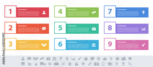 Infographic design business concept vector illustration with 9 steps or options Wallpaper Mural