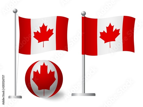 Canada flag on pole and ball icon