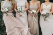 canvas print picture - bridesmaids holding wedding bouquets, tan dresses