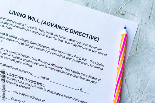 Fotografie, Tablou  Living Will Advance Directive