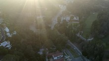 Aerial, Drone Shot, Over The Vermont Canyon Road, Overlooking Buildings And The Park, Near The Griffith Observatory And Mount Hollywood, On A Sunny, Summer Day, In Los Feliz, Los Angeles, USA