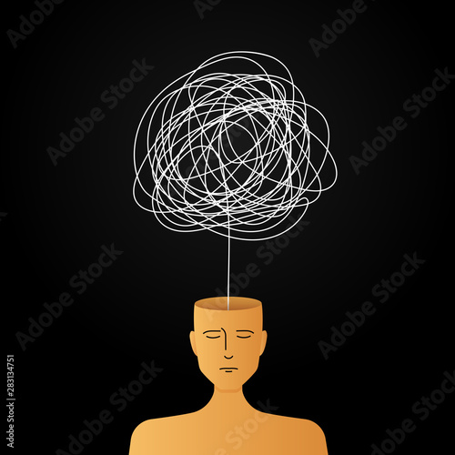 Obraz complicated abstract mind illustration. empty head with messy line inside. tangled scribble doodle vector path design. - fototapety do salonu