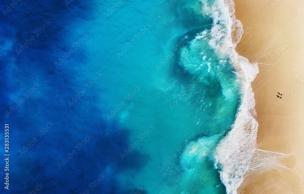 Fototapety, obrazy: Panorama of a coast as a background from top view. Turquoise water background from top view. Summer seascape from air. Nusa Penida island, Indonesia. Travel - image