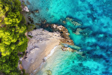 Croatia. Coast As A Background From Top View. Turquoise Water Background From Top View. Summer Seascape From Air. Travel - Image