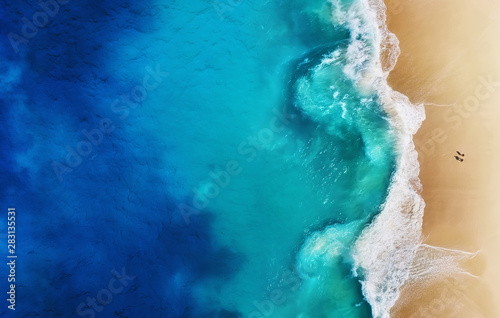 fototapeta na ścianę Panorama of a coast as a background from top view. Turquoise water background from top view. Summer seascape from air. Nusa Penida island, Indonesia. Travel - image