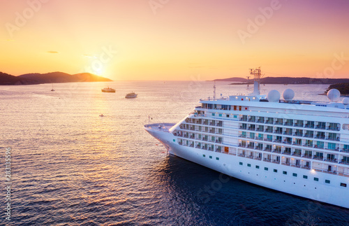 fototapeta na szkło Croatia. Aerial view at the cruise ship during sunset. Adventure and travel. Landscape with cruise liner on Adriatic sea. Luxury cruise. Travel - image