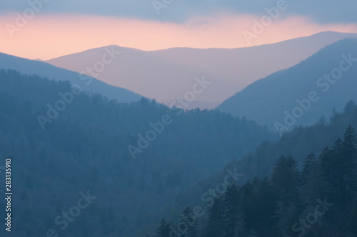 Oconoluftee Overlook is viewed at a colorful sunset evening on the Great Smoky Mountain National Park in Townsend, TN.
