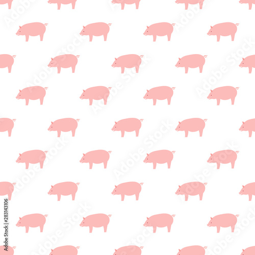 Fotografia, Obraz Vector seamless pattern with pigs. Vector pink pigs..