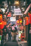 Tokyo, Japan - Local street food alley restaurants in Tokyo, Shinjuku district with red lanterns at night.