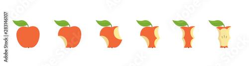 Fotografía Red apple fruit bite stage set