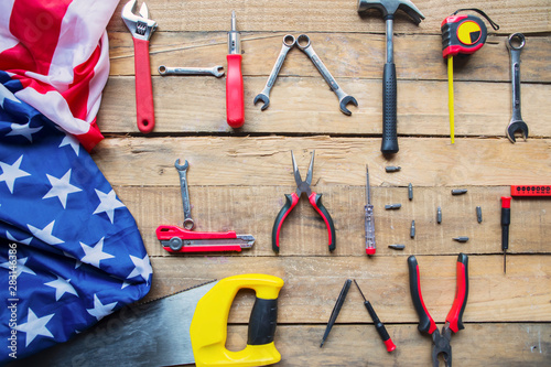 Photo Stands Asia Country American flag with text of Happy Labor Day on table