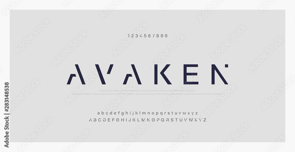 Fototapety, obrazy: Abstract minimal modern alphabet fonts. Typography technology electronic digital music future creative font. vector illustraion