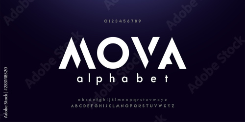 Fotomural  Abstract digital modern alphabet fonts