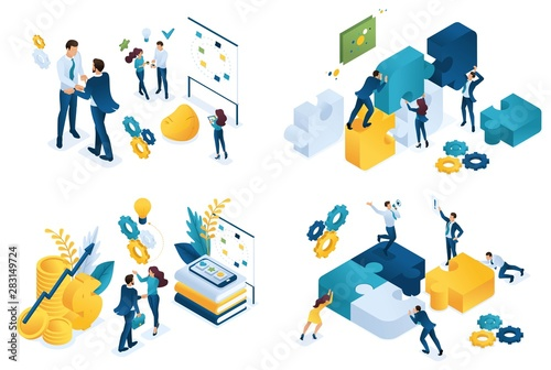 Fotomural  Set isometric concept of business partnership