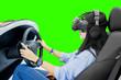 Leinwandbild Motiv Woman playing a racing game in a simulator car