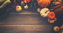 Frame Of Fall Healthy Vegetarians Food. Cooking Background. Ingredients For Thanksgiving Day Dinner. Corn, Pumpkin, Fruits Over Wooden Table, Top View.