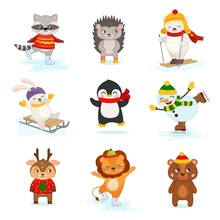 Vector Set Of Cute Winter Characters. Christmas Collection.