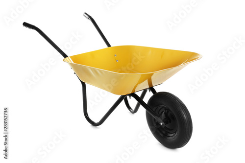 Fotomural  Color wheelbarrow isolated on white. Gardening tool