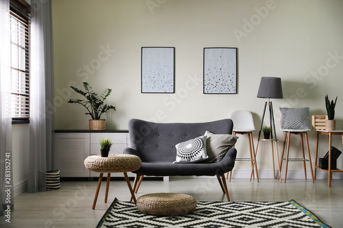 Stylish living room with modern furniture and stylish decor ...