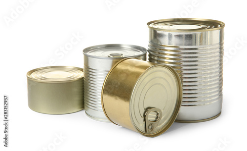 Closed tin cans isolated on white, mockup for design Canvas Print