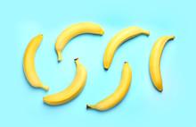 Ripe Tasty Bananas On Blue Background, Flat Lay