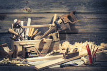 Vintage Carpenter Working Tools On Rustic Wooden Table