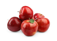 Ripe Juicy Red Apples With Leaf On White Background