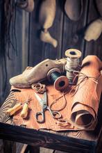 Closeup Of Cobbler Workplace W...