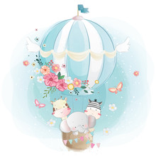 Cute Animals Flying With Air Balloon