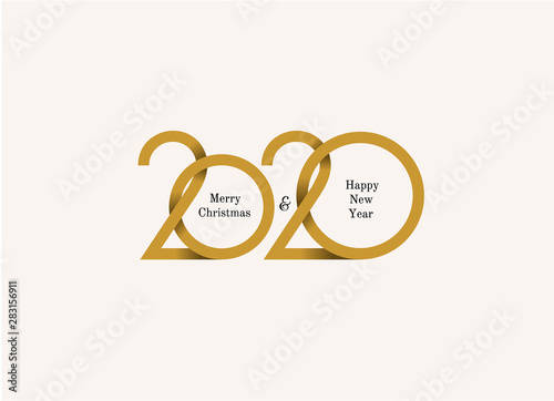 happy new year 2020 logo text design merry christmas cover of business diary for 2020 with wishes brochure design template card banner vector illustration isolated on white background buy this stock happy new year 2020 logo text design