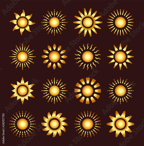 Fotografía  Golden sun icons with different rays