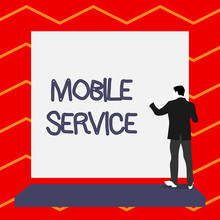 Word Writing Text Mobile Service. Business Photo Showcasing Radio Communication Utility Between Mobile And Land Stations Short Hair Immature Young Man Stand In Front Of Rectangle Big Blank Board