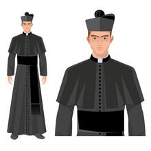 Catholic Priest In Robes, Flat Illustration