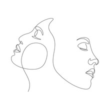Continuous Line, Drawing Of Set Faces And Hairstyle, Fashion Concept, Woman Beauty Minimalist,