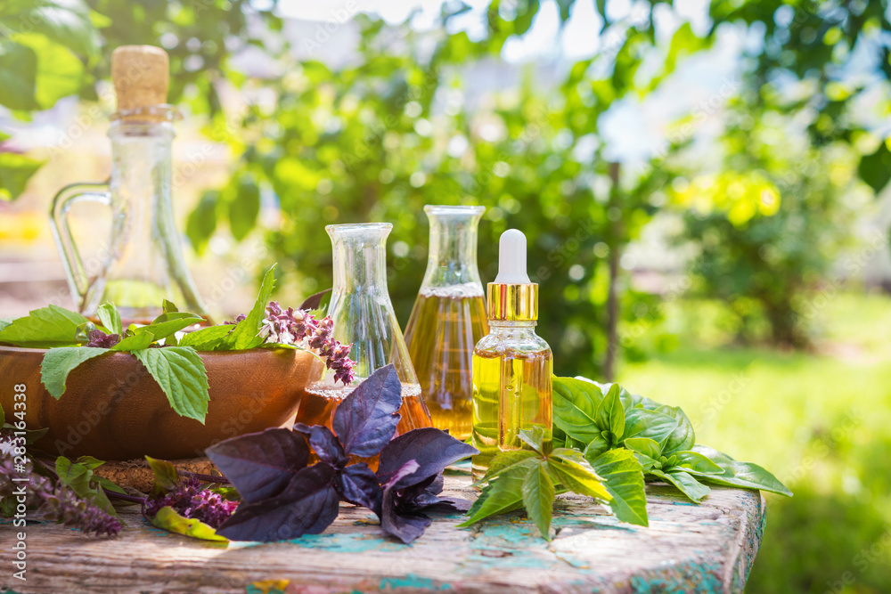 Fototapety, obrazy: Oil for skin care, massage from natural ingredients, herbs, mint in glass jars and test tubes on a green background in the garden on the nature, natural cosmetics